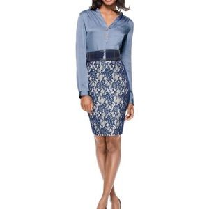 The Limited Navy Blue Lace Pencil Skirt